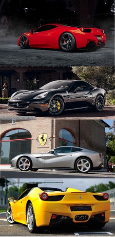 Ferrari's current line up. 458, California, F12 Belinetta and the 458 Spider. Amazing.