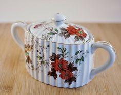 Vintage Floral Porcelain Sugar Bowl