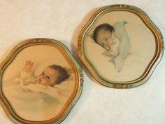 Pair Bessie Pease Gutmann Baby Prints in Original Frames Mint Green Paints, Bessie Pease Gutmann, Fluffy Blankets, Downy, Quatrefoil, Baby Prints, Rose Buds, Girl Nursery, Snuggles