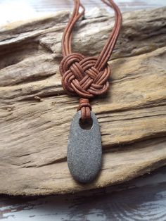 Scottish Sea Pebble and  Leather Celtic Knot by byNaturesDesign, $20.00                                                                                                                                                                                 More