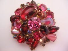 Vintage Pink-Red Mid Century Rhinestone Pin-Brooch