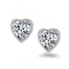 CZ Cubic Zirconia 925 Sterling Silver Stud Earrings For Men & Women Bling Jewelry, Jewelry Gifts, Silver Jewelry, Jewelry Box, Jewelry Accessories, Diamond Jewelry, Heart Shaped Earrings, Stud Earrings, Sterling Silver Earrings Studs