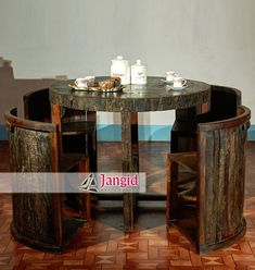 intage railway slipper wood round dining table set, reclaimed wood Indian furniture manufacturer India  Please contact us to get price offer of our products.  Website: www.jangidart.co.in  Email: info@jangidart.com  WhatsApp: +91-8561051688 #indianfurniture #woodenfurniture #solidwoodfurniture #oldwood #reclaimedwoodfurniture #recycledwoodfurniture #antiquefurniture #vintage #industrial #furniture #design #wholesaler #liveedge #liveedgetable #railwaywood #diningroomfurniture #hotelfurniture