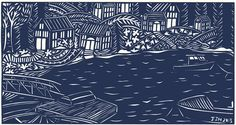 in the harbor matte archival print by swallowfield on Etsy (Art & Collectibles, Prints, papercut, ocean, harbor, maine, village, northeast harbor, dock, boats, houses, community, midnight blue, deep blue)