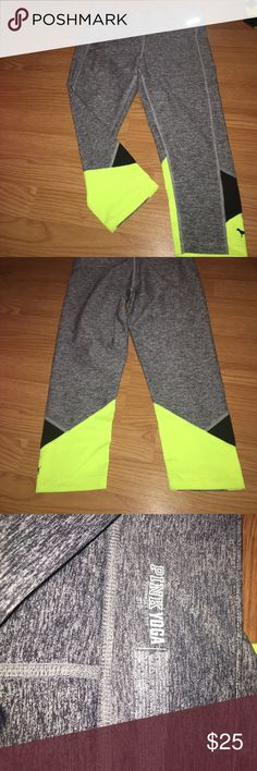 Crop yoga pants These are gray ultimate crop yoga pants. They are size small and have a yellow and black detail on the back PINK Victoria's Secret Pants Leggings