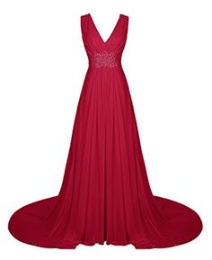 Wedtrend Women's Elegant V-neck Wedding Dress Backless Prom Dress with Beads 10194 Dark Red 12 - Brought to you by Avarsha.com