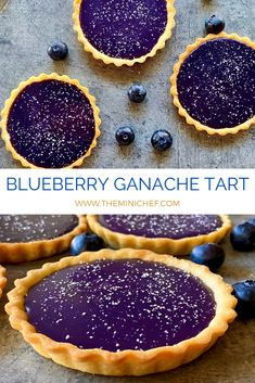 Not only is this blueberry ganache tart strikingly beautiful, but it has a perfectly balanced flavor as well. The tartness of the blueberries complements the sweetness of the white chocolate to create a completely unique ganache filling. Blueberry Desserts, Just Desserts, Delicious Desserts, Dessert Recipes, Yummy Food, Dessert Tarts, Gourmet Desserts, Blueberry Tarts, Unique Desserts
