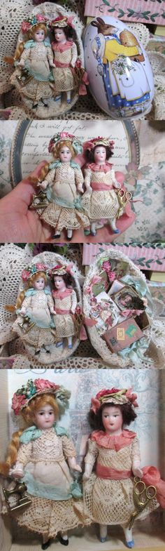 "Two Tiny 3"" All Bisque Miniature Antique German Dollhouse dolls in Tin egg display box by NooshfairlovesDreamCorner"