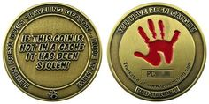 """Lemon Fresh Dog's """"Red Handed"""" Traveler.  One of the older geocoins (and a part of my collection)."""