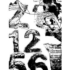 Numbered Collage Cling Mount Stamp by Dina Wakley ❤ liked on Polyvore featuring backgrounds