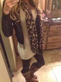 Dark cheetah scarf, tan jacket, white blouse and tan leggings for fall