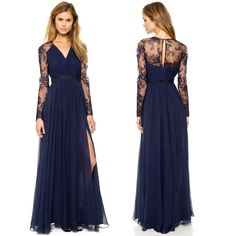 CHEAP SALE Women Split Lace Chiffon Ball Gown Evening Prom Long Dress Navy Blue #Unbranded #BallGown #Cocktail