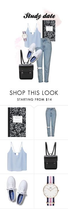 """Idea for a study date outfit"" by emmikayu on Polyvore featuring Dot & Bo, Topshop, MANGO, The Cambridge Satchel Company, Keds and Daniel Wellington"