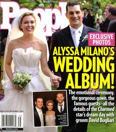 A sweet and simple bouquet of Lily of the Valley flowers gave Alyssa Milano a chic, sophisticated wedding style.