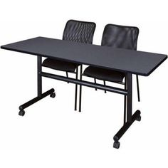 Kobe 60 inch Flip Top Mobile Training Table and 2 Black Mario Stack Chairs, Multiple Colors, Gray