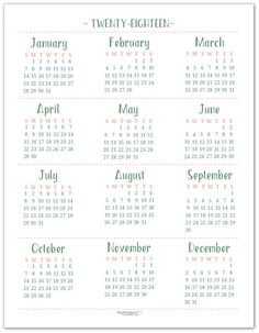 2018 full year calendar template