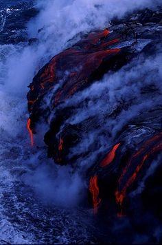Where lava meets the ocean-photos Tsunami, Natural Phenomena, Natural Disasters, Tornados, Volcan Eruption, Behind Blue Eyes, Ocean Photos, Lava Flow, Nature Images