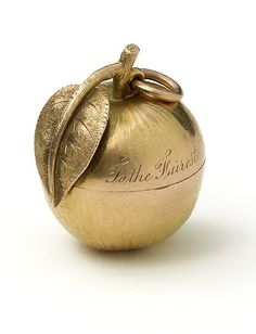 "Antique golden apple engraved ""TO THE FAIREST"" circa 1900 - I have wanted one since I was a little girl"
