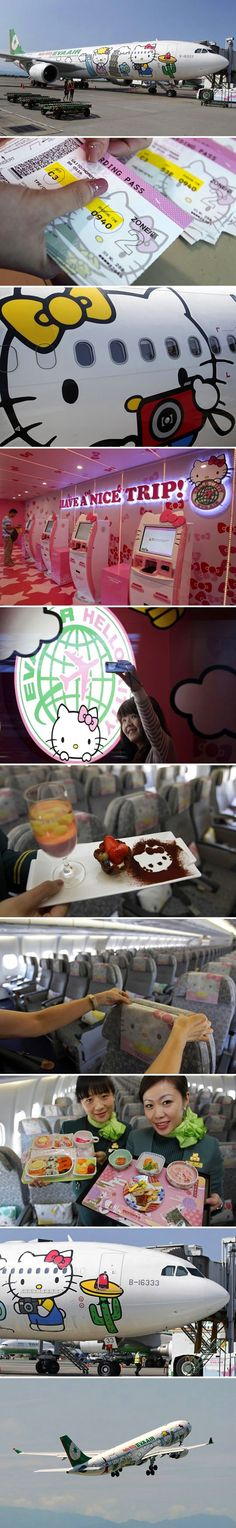 "In October 2005, EVA Air launched a campaign with Japanese company Sanrio to create the ""Hello Kitty Jet,"" featuring the popular Japanese character. This is what it looks like inside the plane."