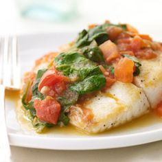 Sautéed Snapper with Plum Tomatoes and Spinach | MyRecipes.com #myplate #protein #vegetables