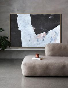 CZ Art Design - Hand-painted large textured painting, oversized Horizontal canvas art, Minimal Art black, white and grey, for neutral home decor and minimalist interior design. #MN39C