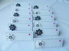12 Seating placement name cards in black and white flowers with hot pink accents by SparkleandComfort, $6.99