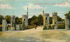 Saint Joseph Missouri MO 1908 Entrance to Krug's Park Antique Vintage Postcard