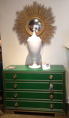 The 2013 color of the year #Emerald perfectly executed on the Karl Drawer Chest by Lillian August. Gold striping defines the classic lines & brass hardware beautifully finish the chest. Stunning & impactful statement for your home! #hpmkt #stylespotters #2013 #coloroftheyear #SherwinWilliams #LillianAugust #HickoryWhite #gold #sunburst #metallic #green