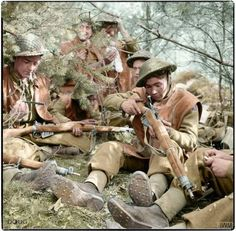 6th King's Own Scottish Borderers in a wood near Hamminkeln, Germany 25th of March 1945.
