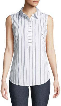 Shop Striped Sleeveless Wrinkle-Free Blouse from Iconic American Designer at Neiman Marcus Last Call, where you'll save as much as on designer fashions. Sewing Blouses, Cotton Blouses, Vetement Fashion, Dress Patterns, Blouse Designs, Blouses For Women, Designer, Fashion Dresses, Clothes