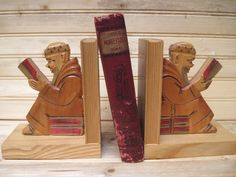Bookends,Carved wood scholar with books