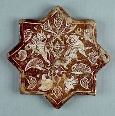 Star Tile with Griffins, Birds and Leaves