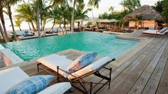 Beachfront pool at Tiamo Resort on Andros Island in the Bahamas