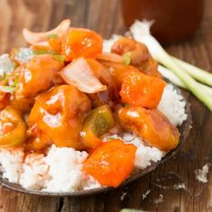 Easy sweet and sour chicken made at home but tastes just like take out.