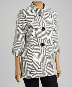 Look what I found on #zulily! White & Black Geometric Stripe Button-Up Jacket - Plus by Come N See #zulilyfinds