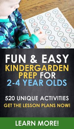 Kindergarten prep is easy with these fun and simple activites for 2, 3, and 4 year old children! Learn letters, numbers, math skills, science, reading skills, hands on skills, imagination skills, and more! 520 preschool activities with no 2 lessons repeating at all! Get the lesson plans and activities now!