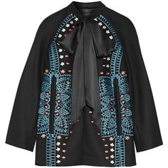 Temperley LondonJuniper Satin-trimmed Embroidered Wool And... ($1,710) ❤ liked on Polyvore featuring outerwear, jackets, black, flower print jacket, multi colored jacket, wool jacket, temperley london and embroidered jacket