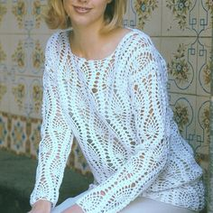 INSTANT DOWNLOAD PDF Vintage Crochet Pattern   Lace Sweater Tunic Beach Cover Up Top  Pineapple Lace Motif
