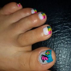 French Tip Nail Designs, French Tip Nails, Cute Toe Nails, Cute Toes, Pedicure Nail Art, Toe Nail Art, Funky Nails, Sexy Feet, Summer Nails