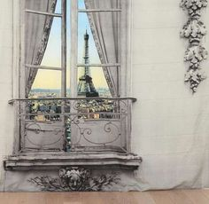 The Paris Window Tapestry Provides a Faux Eiffel Tower View #urbanoutfitters #homedecor trendhunter.com