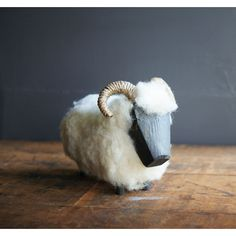 Vintage Blackface Sheep Figurine Made in Scotland Real Wool and Wood... ($32) ❤ liked on Polyvore featuring home, home decor, wooden home decor, wooden figure, vintage figurines, sheep figurine and vintage home accessories