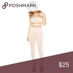 Naked Wardrobe Nude Cut Out Strapless Jumpsuit Brand New jumpsuit from Naked Wardrobe. Super comfortable and fitting 💞 Naked Wardrobe Pants Jumpsuits & Rompers