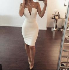 Sexy Deep V Solid Color Bodycon Dress
