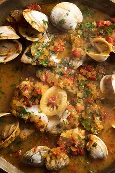 This is a simple Italianate fish stew, with classic Mediterranean flavors It's easy to put together and everything can be prepped ahead Just pop it the oven 30 minutes before dinner. (Photo: Evan Sung for NYT) stew recipe Seafood Recipes, Soup Recipes, Cooking Recipes, Cooking Fish, Clam Recipes, Dinner Recipes, Budget Cooking, Cooking Broccoli, Healthy Recipes