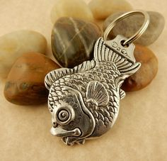 Cat Fish, Kitty Cat with Bow double sided Pewter Keychain, key tag