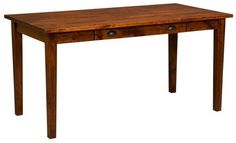 Amish Jacoby Work Table Desk Top selling wood desk built in Amish country. Imagine working at this gorgeous wood desk that's built in the wood and stain you choose. Amish made in America. #desk #wooddesk #worktable
