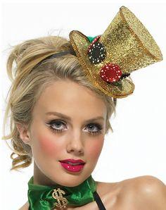 Mini Glitter Gambler Top hat from LegsAvenue