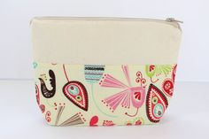 Large Cosmetic Bag Makeup Pouch Travel Case Flat by AgnesPurses