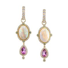 Rosa opal earrings with purple tourmalines by Erica Courtney. Diy Opal Earrings, Opal Jewelry, Fine Jewelry, Drop Earrings, Tourmaline Jewelry, Fancy Earrings, Gold Jewellery, Unique Jewelry, Jewelry For Her