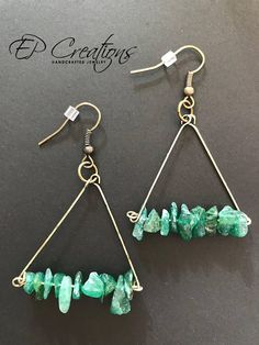 Antique brass triangle shaped earrings with green stone beads. Unique and delicate antique brass wire earrings, triangle shaped with green stone beads. Earrings are designed to accessorize your special occasion wardrobe as well as your daily outfit. Earrings come with iron,